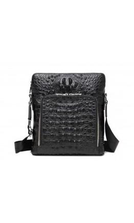Черная кожаная сумка на плечо с тиснением A25F-7607-3A