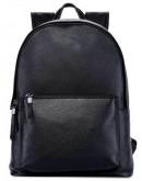 Фотография Рюкзак мужской классический черный кожаный B3-012A