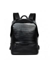 Черный модный кожаный мужской рюкзак B3-019A