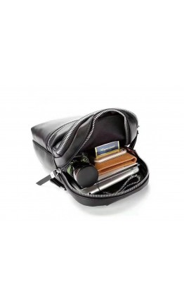 Черный кожаный мужской рюкзак B3-066A