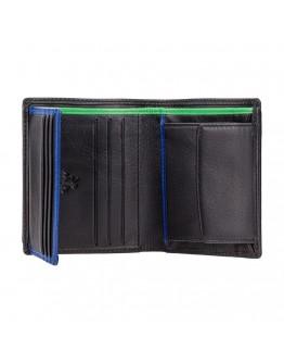 Черный кошелек Visconti BD22 Dr. No (Black Cobalt Green)