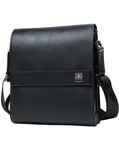 Фотография Кожаная мужская сумка на плечо черного цвета BS7301