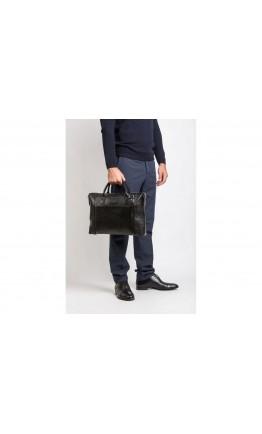 Удобная кожаная чёрная мужская сумка Blamont Bn006A