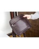 Фотография Коричневая кожаная сумка без клапана Blamont Bn097C