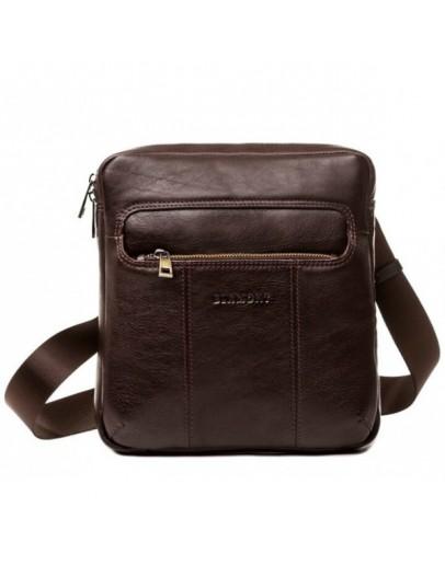 Фотография Коричневая кожаная мужская сумка на плечо Blamont Bn098C