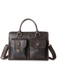Кожаная мужская стильная сумка коричневая Bx020