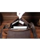 Фотография Мужская кожаная сумка на плечо коричневая Bx033