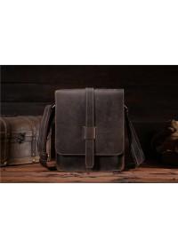 Мужская кожаная сумка на плечо коричневая Bx033