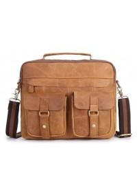 Рыжая мужская кожаная коричневая сумка Bx049