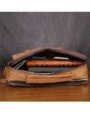 Фотография Рыжая мужская кожаная коричневая сумка Bx049