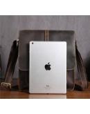 Фотография Кожаная сумка мужская через плечо, коричневая Bx5867