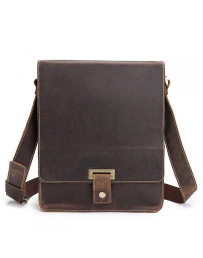Фотография Мужской кожаный мессенджер, коричневый цвет Bx7055