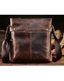 Фотография Мессенджер мужской кожаный, коричневый цвет Bx8029-1