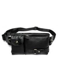 Черная мужская сумка на пояс кожаная Bx9080A