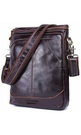Темно-коричневая кожаная сумка - планшетка CS0211