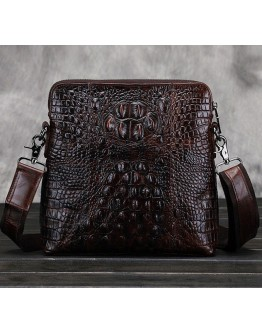 Темно-коричневая сумка на плечо с тиснением CS0212
