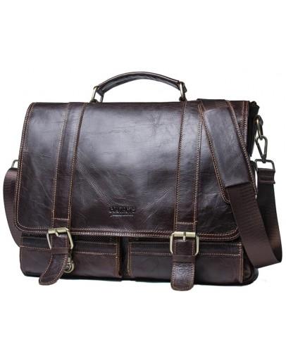 Фотография Мужская кожаная коричневая деловая сумка CS3030