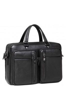 Черная кожаная сумка для небольшого ноутбука и документов RB DF01-0147A