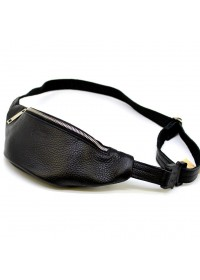 Небольшая кожаная черная сумка на пояс - бананка Tarwa FA-3036-mini-4md