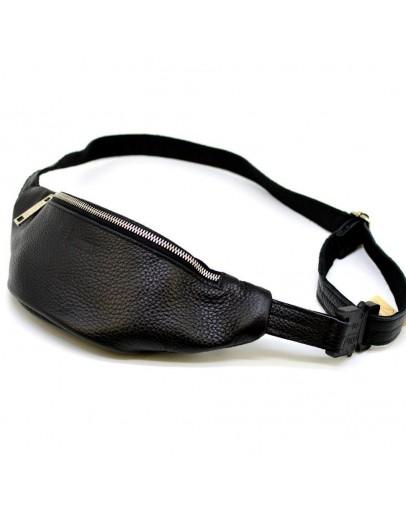 Фотография Небольшая кожаная черная сумка на пояс - бананка Tarwa FA-3036-mini-4md