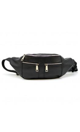 Кожаная черная сумка на пояс - бананка Tarwa FA-3088-4lx