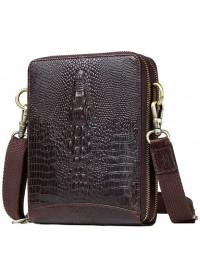 Кожаная сумка планшетка с тиснением под крокодила FR3150