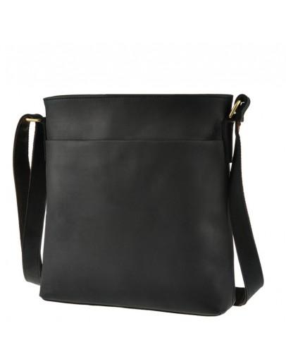 Фотография Черная кожаная сумка на плечо без клапана G1166
