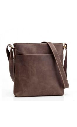Коричневая кожаная сумка на плечо без клапана G1166B