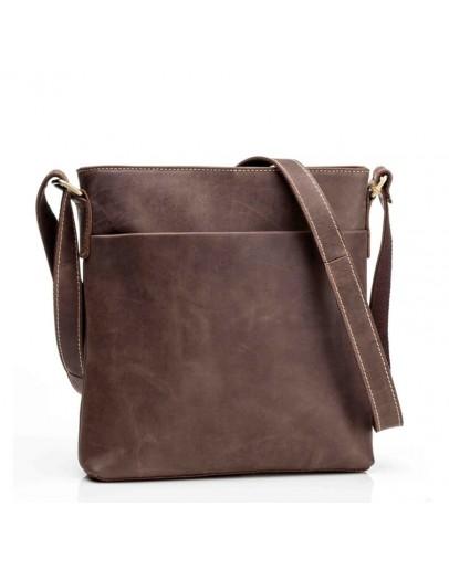 Фотография Коричневая кожаная сумка на плечо без клапана G1166B
