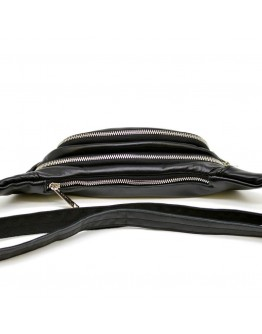 Бананка - сумка на пояс черного цвета кожаная Tarwa GA-2406-4lx