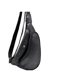 Кожаный рюкзак на одно плече черного цвета Tarwa GA-3026-3md