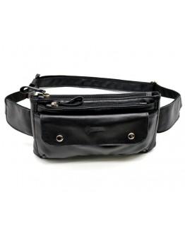Кожаная черная сумка на пояс Tarwa GA-8136-4lx