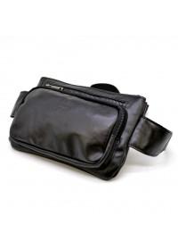 Черная кожаная удобная сумка на пояс Tarwa GA-8137-3md