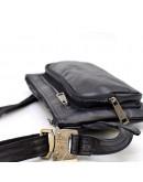 Фотография Черная кожаная удобная сумка на пояс Tarwa GA-8137-3md