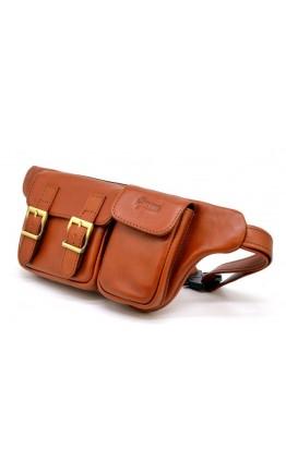 Рыжая кожаная оригинальная сумка на пояс Tarwa GB-3029-4lx