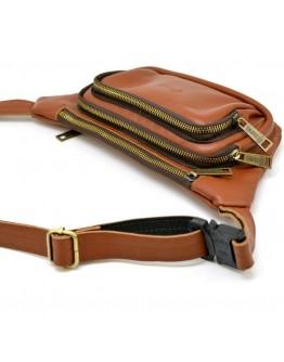 Рыжая кожаная сумка на пояс - бананка Tarwa GB-8179-3md