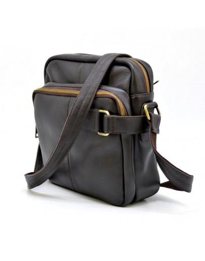 Фотография Кожаная коричневая мужская сумка на плечо Tarwa GC-6012-3md