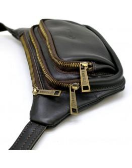 Темно-коричневая кожаная сумка на пояс - бананка Tarwa GC-8179-3md