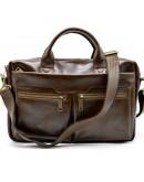 Фотография Кожаная деловая сумка коричневая для документов Tarwa GQ-7122-3md