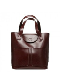 Коричневая кожаная женская сумка GR-0599B