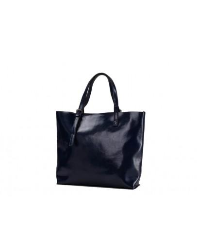 Фотография Кожаная женская синяя сумка GR-2011NV