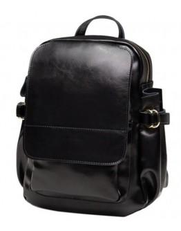Женский черный кожаный женский рюкзак GR-8128A