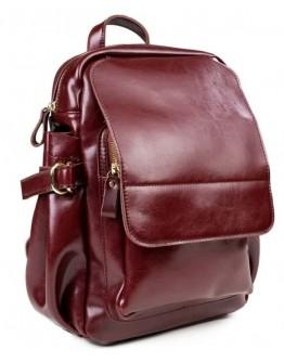 Кожаный женский рюкзак бордового цвета GR-8128CH
