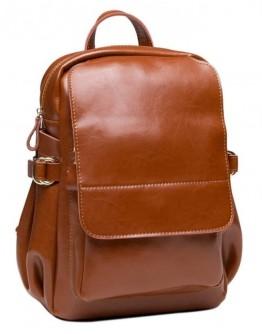 Женский кожаный рюкзак светло-коричневого цвета GR-8128LB