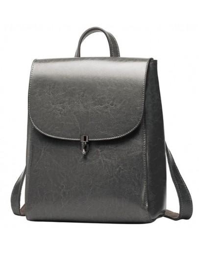 Фотография Женский серый кожаный рюкзак GR-8325G