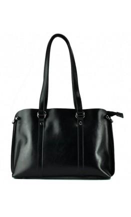 Черная кожаная деловая женская сумка GR-839A