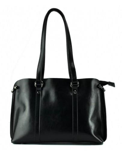Фотография Черная кожаная деловая женская сумка GR-839A