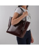 Фотография Кожаная коричневая модная женская сумка GR-8813B