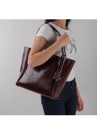 Кожаная коричневая модная женская сумка GR-8813B