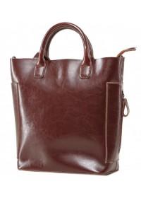 Кожаная коричневая женская деловая сумка GR-8848B